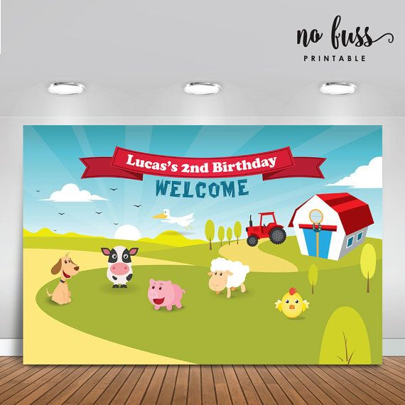 Animals Farm Backdrop Party Banner Poster by NoFussPrintable