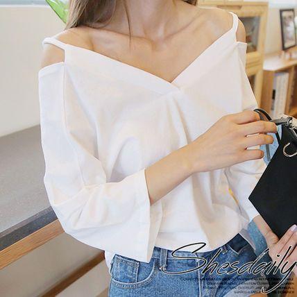 ユニークなオフショルダーTシャツ4色 s3818