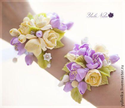 Свадебный комплект - сиреневый,желтый,фрезии,цветы яблони,ландыши,украшение для невесты