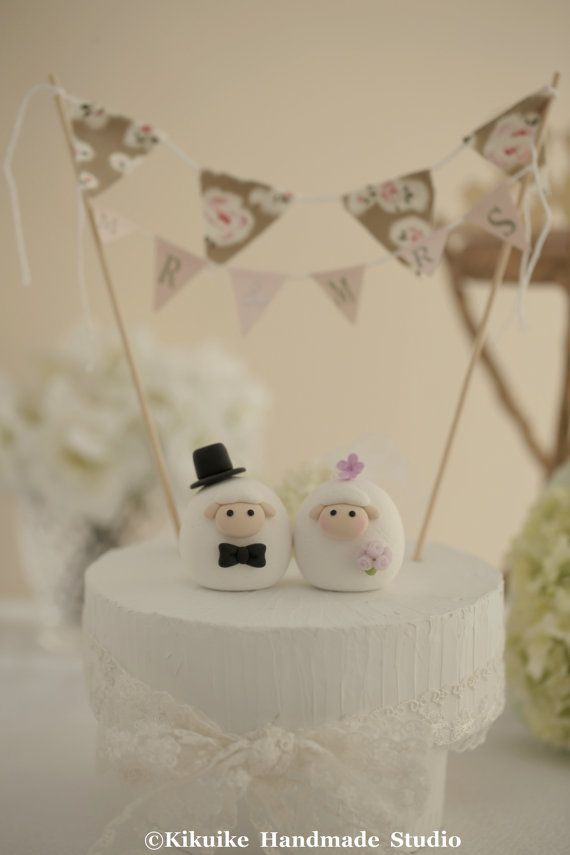 Sheep wedding cake topper by MochiEgg on Etsy, $65.00