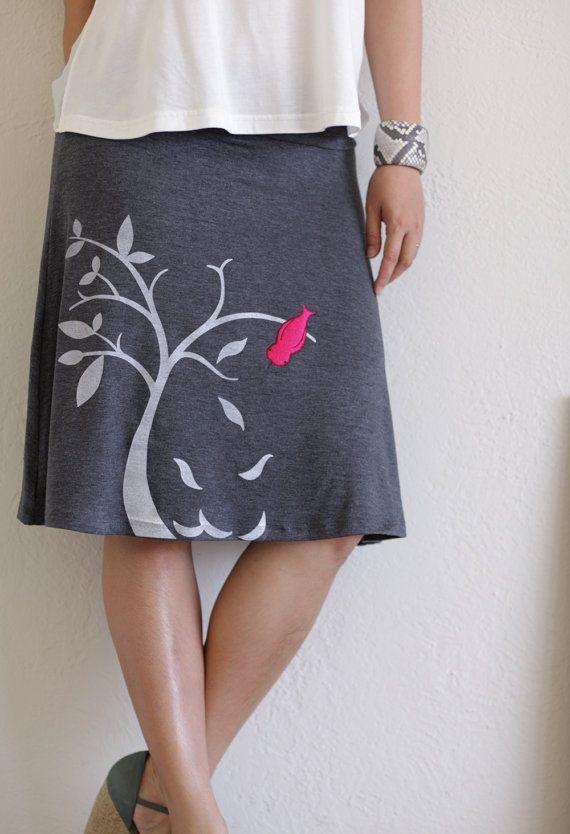 Tree Bird Skirt . Handmade appliqué skirt . Grey Knee Length A-line Skirt - The bird and the falling leaves on size Medium via Etsy