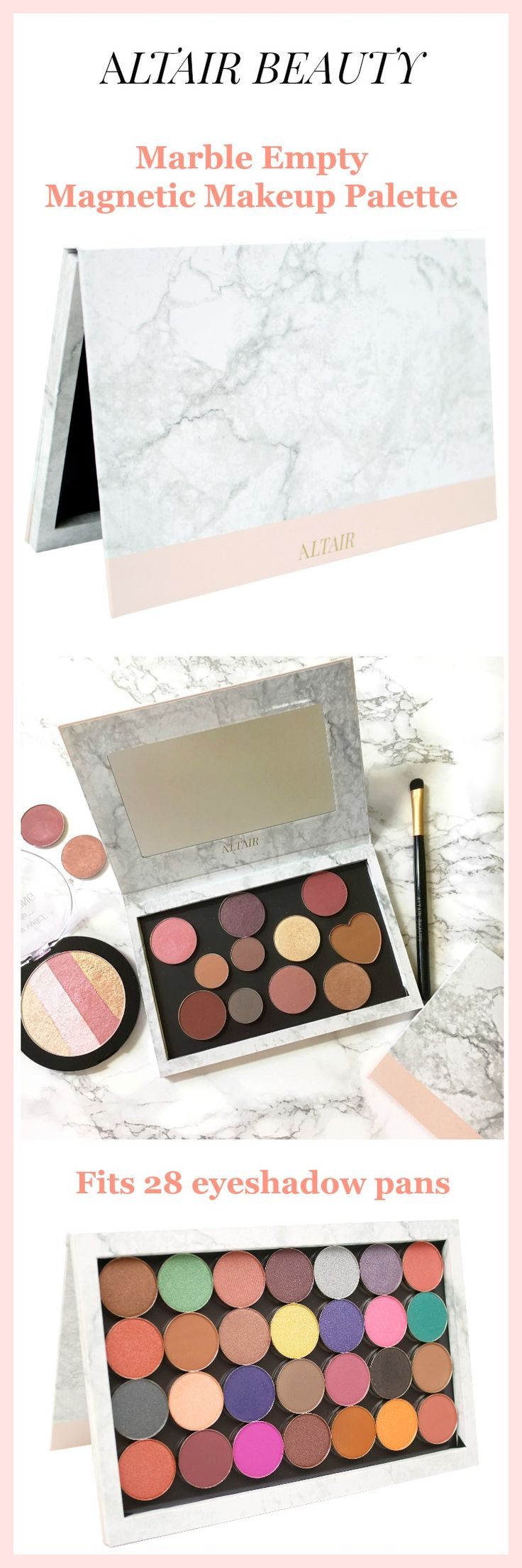 Marble Depotting Magnetic Makeup Palette by Altair Beauty with 10 pcs Metal Stickers.  Depot Eyeshadows, Blush, Bronzer, Highlighter.  Includes free makeup spatula.  Holds 28 standard sized eyeshadow pans.  Organize your DIY beauty.