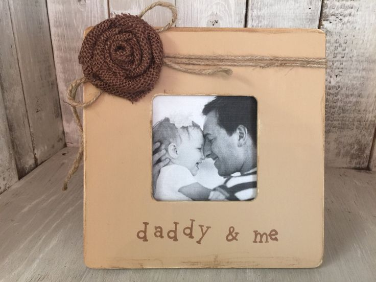 Valentine Picture Frame, Daddy Picture Frame, Rustic Picture Frame, Shabby Chic Picture Frame with Burlap Rosette by BowtiqueBurlap on Etsy