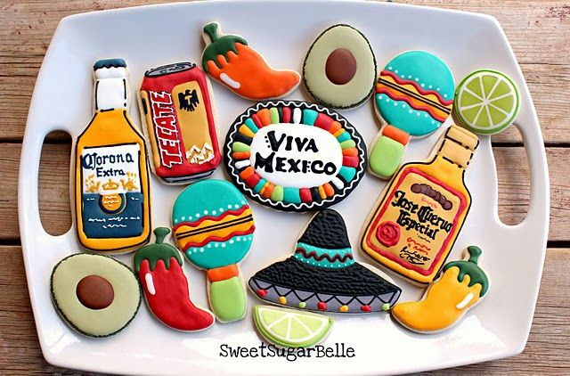 Cinco de Mayo Decorated Iced Cookies Cookie Art from Sweet Sugar Belle  Jose Cuervo, Corona, Sombrero, Tecate Beer and an avocado!