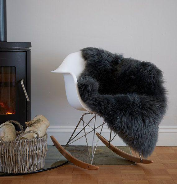 Stunning Slate Gray Grey Sheepskin Rug Soft& Fluffy Throw Superior Eco Pelt by Swedishdalahorse #TrendingEtsy