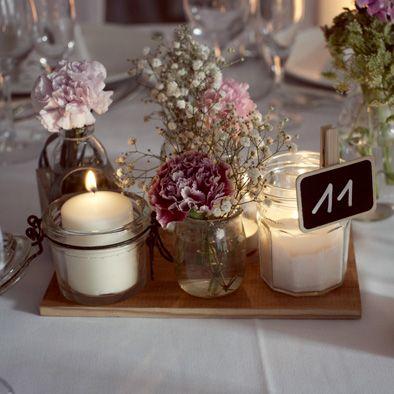 ROMANTIQUE WEDDING RECEPTION DECORATIONS | Ameliage centre de table vintage fleurs bougies, pot récupération