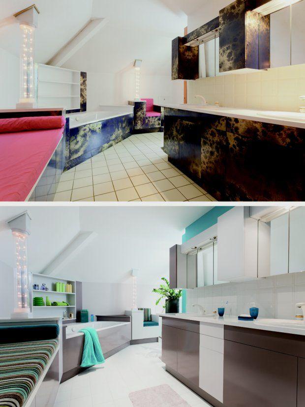 Płytki łazienkowe Przed I Po Pomalowaniu Farbami