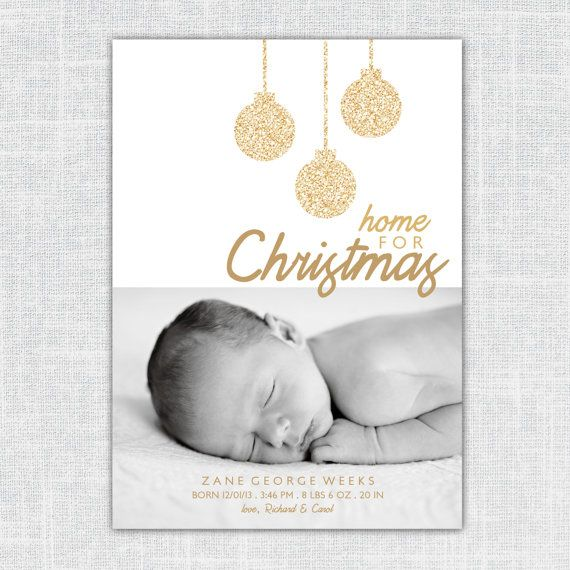 Zane Custom Photo Christmas Birth Announcement Home by BeanPress, $15.00