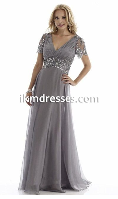 2016 New Fashion Cheap Chiffon Mother of the Bride Dresses V-Neck Short Sleeve Mother´s Dress evening gowns vestidos madre del novio