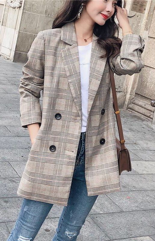 f7b421d3f1c Womens Casual Plaid Blazers Autumn Spring Jacket Outfit. Classy camel plaid  blazer fall winter. #fallfashion #winterfashion #ootd #streetstyle #outfits  # ...
