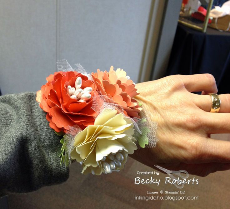 Paper flower wrist corsage * No wilting! * Inking Idaho
