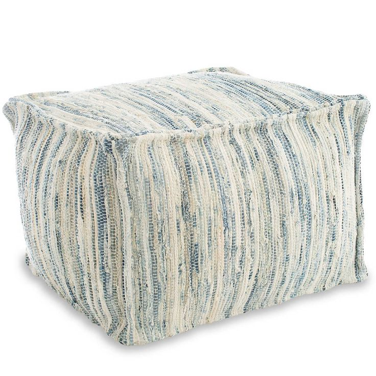 Denim Rag Woven Pouf | Fresh American – Common room