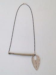 Silver ID Tag Necklace with Horizontal Bar