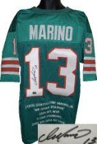 Dan Marino Autographed/Hand Signed Miami Dolphins Teal Prostyle Jersey w/ Embroidered Stats