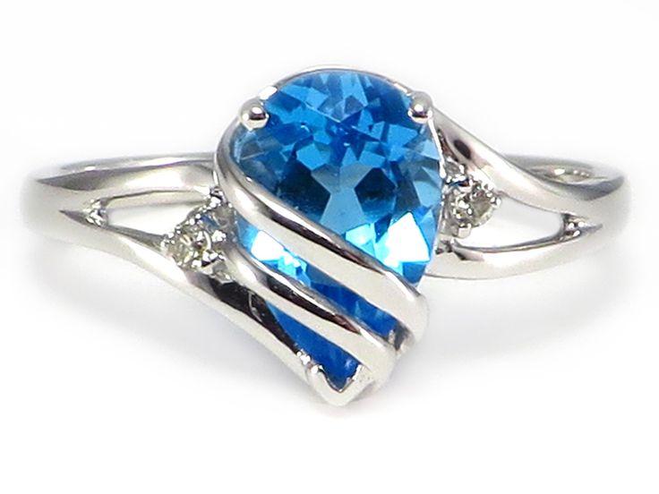 Fine Jewelry Genuine Swiss Blue Topaz Diamond-Accent 14K Yellow Gold Birthstone Ring 9NSpdJP
