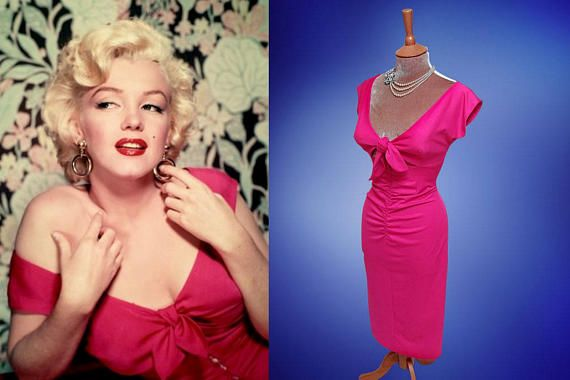 Marilyn Monroe...Niagara  This gorgeous off the shoulder dress is a real head turner. Made from a wonderfully stretchy vibrant cerise pink techno knit fabric with a power mesh lining. It is very forgiving in hiding those lumps and bumps! The low- cut top has an attached tug on bow and has a peek-a-boo midriff which leads to a very unusual feature, a zipper that anyone bold enough could easily pull down! This curve hugging dress is nipped in at the waist and then opens to a mid calf length…