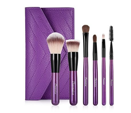 Makeup Brush Sets & Kits , Mini Size Premium Professional Cosmetics Make Up Brushes with Fashion Pouch Bag by Fenmeize (6 Counts)