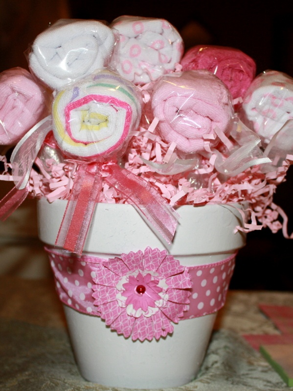 Washcloth flower pot cute gift or centerpiece at baby