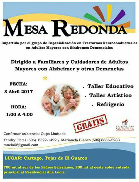 Cartago:Mesa Redonda para familiares y cuidadores de adultos mayores con Alzheimer | Central Informativa del Adulto Mayor