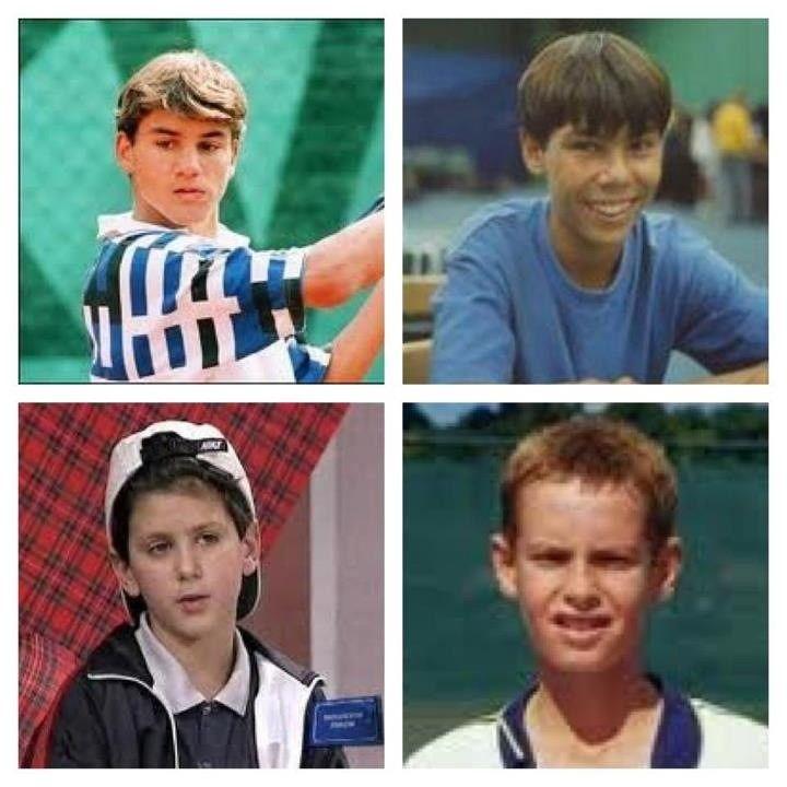 Roger Federer, Rafael Nadal, Novak Djokovic and Andy Murray as kids