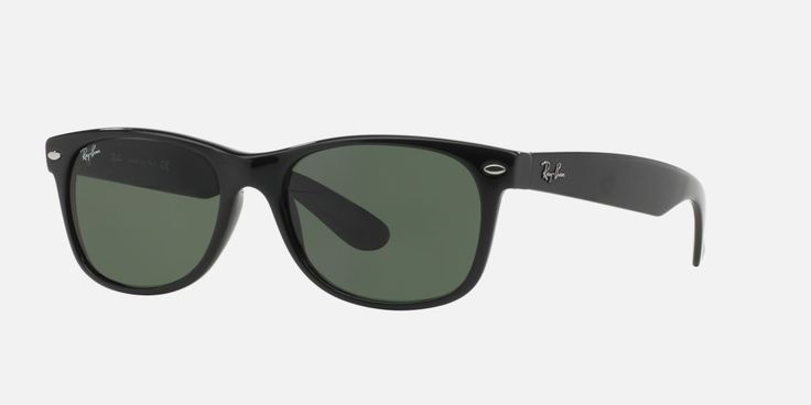 The New Wayfarer® is an updated version of the original, with that Hollywood red carpet look! Using the same shape in size 55mm and style introduced in the '60s, Ray-Ban has added new color combinations that will get you noticed, like this black look with green glass lenses. The B15XLT lenses provide 100% UV blocking AND good looks!