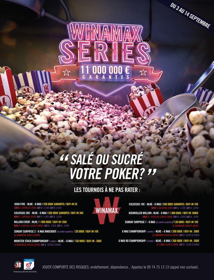 Winamax Series XIX - 11 000 000 € garantis ! En septembre, les Winamax Series sont de retour pour une 19e édition haute en couleurs. Il y en aura pour tous les goûts et pour toutes les bourses, avec encore plus de tournois au programme, de 5 € à 1 000 €, des nouveautés exclusives et surtout 11 millions d'euros garantis ! #Winamax #Poker #WinaSeries #Series