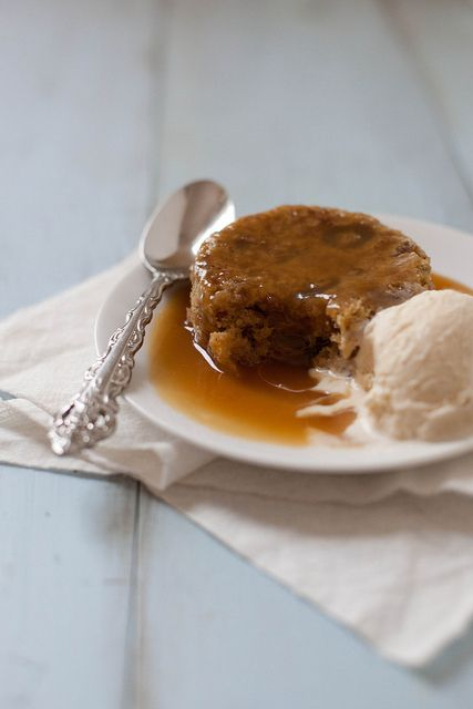 sticky toffee pudding - a warm, soft, sweet cake soaked in toffee sauce & served with vanilla ice cream