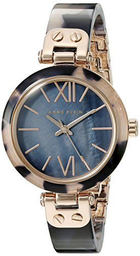 Anne Klein Women's 10/9652RGNV Rose Gold-Tone and Navy Blue Tortoise Resin Bangle Watch