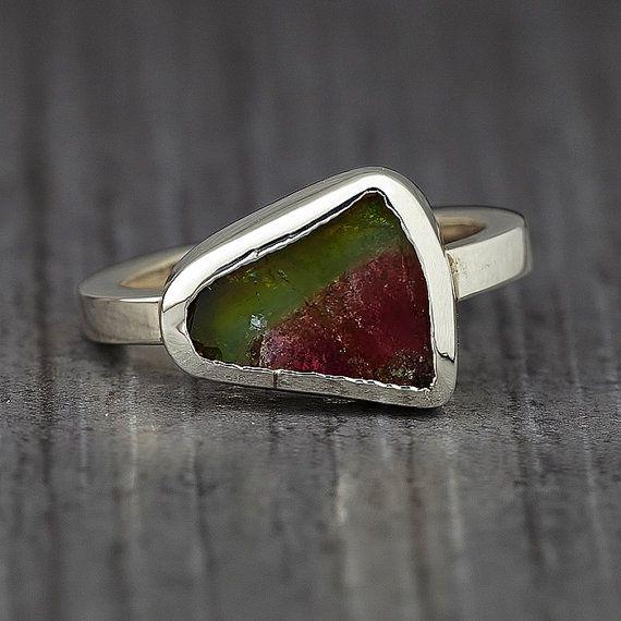 Gemstone ring - Tourmaline ring - Jewelry - Watermelon Tourmaline ring - Engagement Ring - Freeform gemstone - Wedding ring - Solitaire ring
