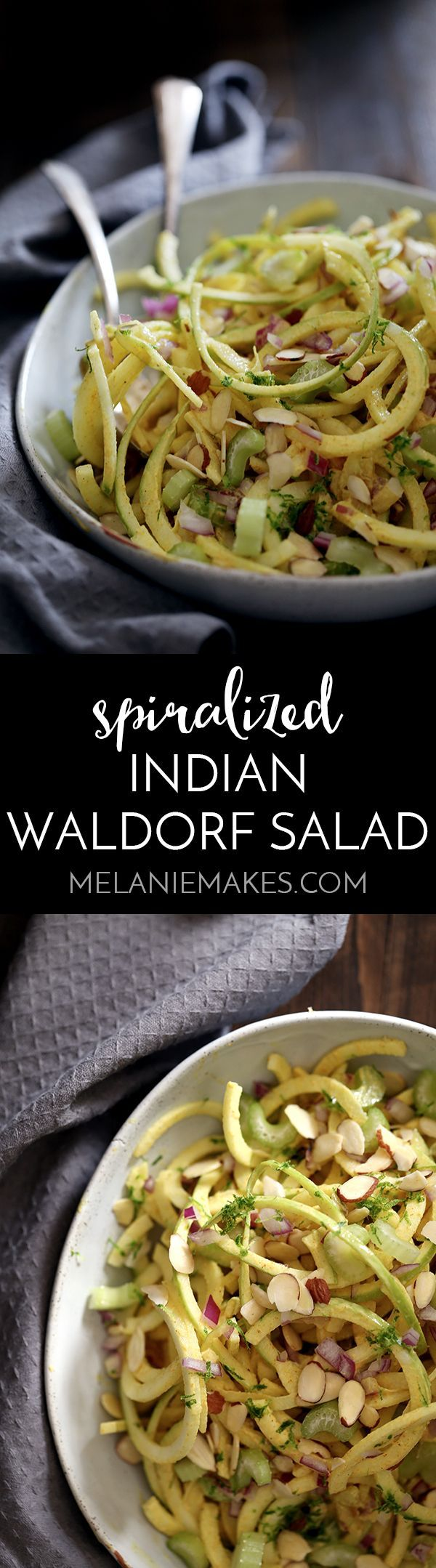 Look no further than this Spiralized Indian Waldorf Salad for a healthy, easy and flavorful side dish. Spiralized apples, celery, raisins and red onion are tossed in a dressing of Greek yogurt spiked with lime juice, curry powder and ginger in this 15 minute recipe.