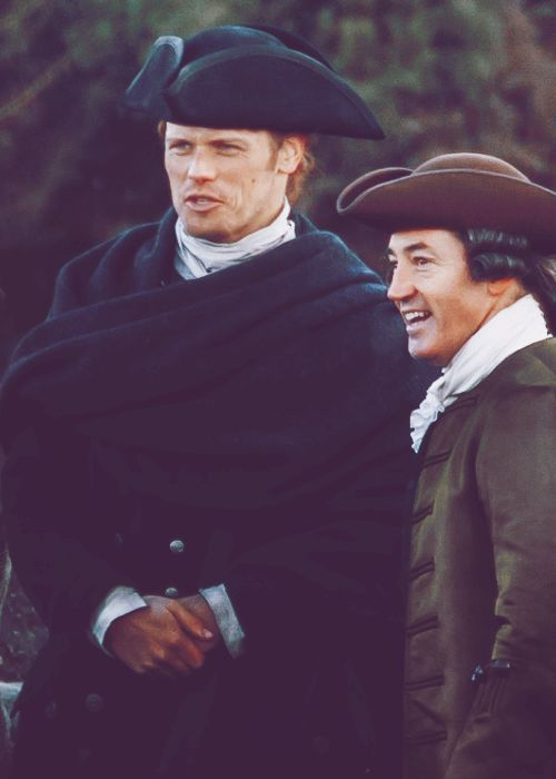 Season 3 - On set OUTLANDER Jamie (played by Sam Heughan) and his cousin Jared Fraser (played by Robert Cavanah)