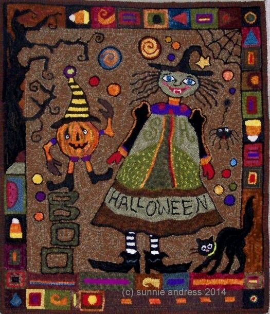 July 2014 Halloween Friends And Fun Mystery Rug/Sunnie/ FINISHED!