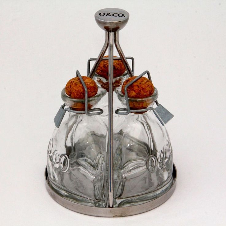 Oliviers and Co O&CO cruet condiment oil pourer set stainless glass bottle cork