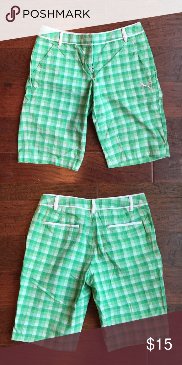 Puma Green & White Checkered Golf Shorts Puma - Green & White Checkered - Bermuda Golf Shorts - Size 6 - Runs Small Puma Shorts Bermudas