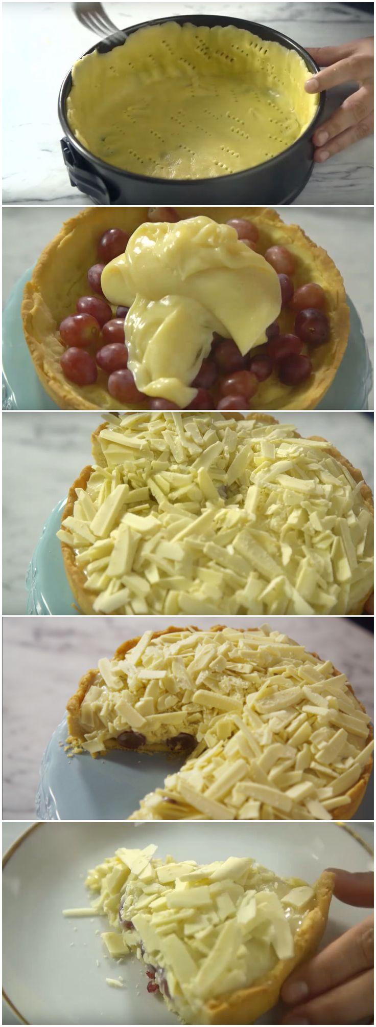 Torta de Brigadeiro Branco e Uvas, IRRESISTÍVEL! (veja a receita passo a passo) #torta #brigadeirobranco #uvas