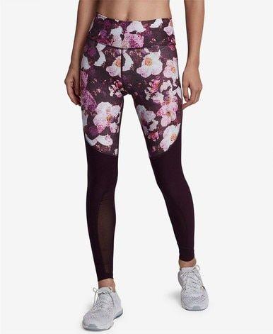 59277d2b82341 Nike Women's Power Legend Printed Mesh-Inset Leggings WineBlack M in ...