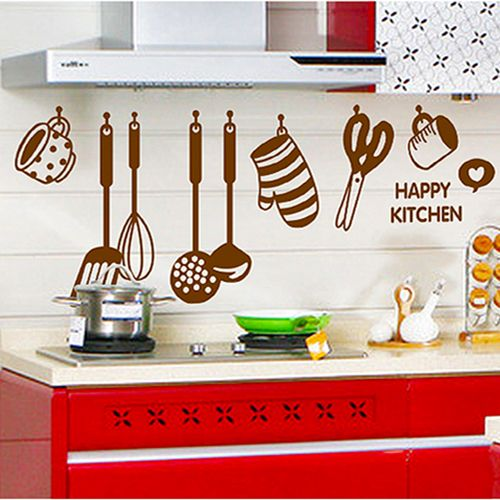 pvc Cutlery pattern Removable wall stickers restaurant kitchen cupboard utensils glass tile stickers wall stickers decorative