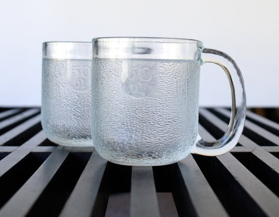 Two Vintage Arabia Iittala Krouvi Glass Beer Mugs - Finland