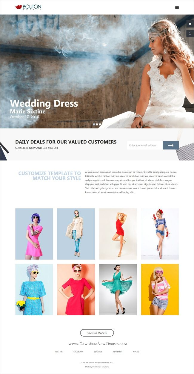 Bouton is clean and modern design 3in1 responsive #HTML5 bootstrap template for #modeling, #fashion studio or design studio website download now..