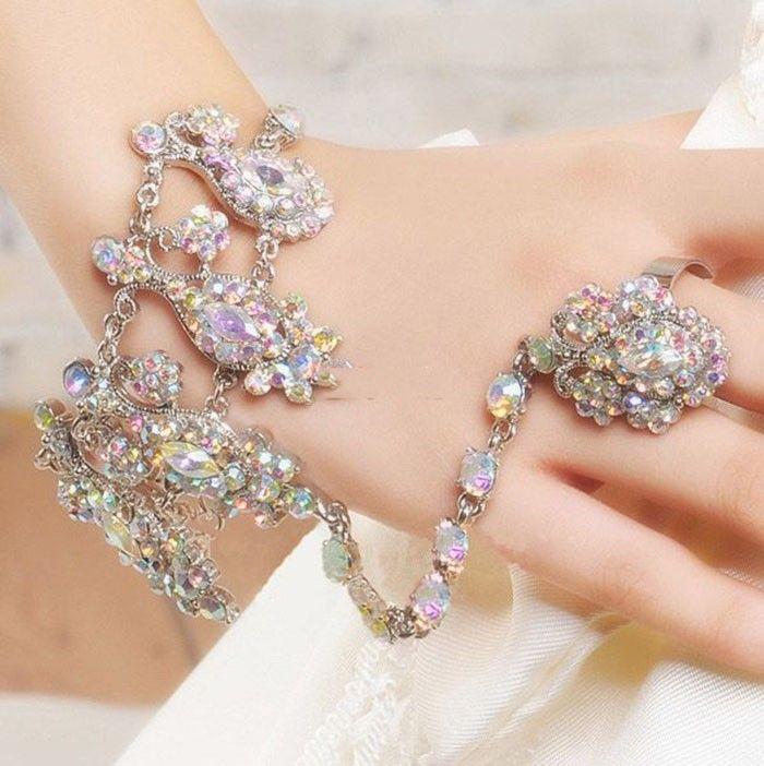 Роскошный AB цвет чешский хрусталь горный хрусталь свадебные браслеты и браслеты с кольцо свадебные украшения Accessoies