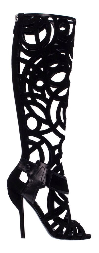 Nicholas Kirkwood. Fall 2014. laser cut out knee high. black high heel bootie.