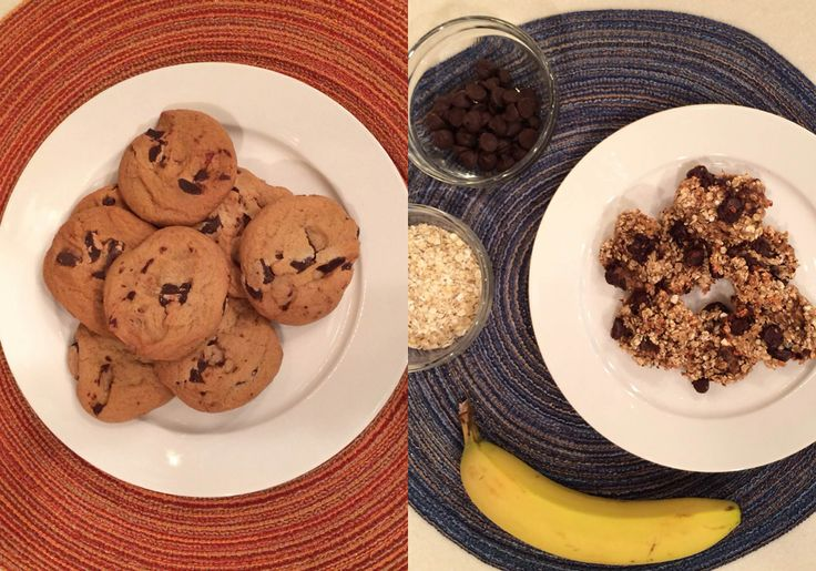 Banana Chocolate Chip Cookies instead of regular chocolate chip cookies.  1 ripe banana, mashed ½ cup quick cooking oats 2 tablespoons chocolate chips  Directions: Preheat oven to 350 degrees. Mix ingredients together and drop on cookie sheet. Bake for about 15 minutes. Let cool.