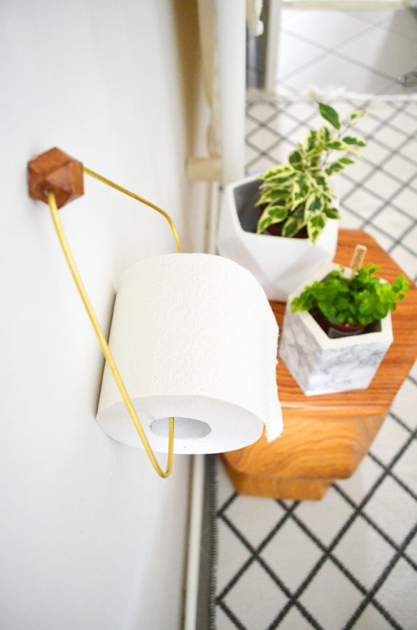 DIY Holz & Messing Toilettenpapierhalter