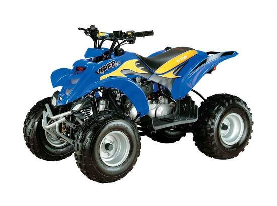This nice looking Royal blue pre owned 2010 E-TON Viper 70 Four Wheeler ATV with 69.3cc four-stroke aircooled engine, Automatic C.V.T. belt transmission, and a U.S. Forest Service-approved spark arrestor is now available by Team Powersports in Garner, NC, USA. Just call (919) 772-7866 or visit UsedAtvsWorld.Com