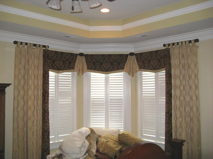 Bay window treatments custom window treatments and semi - Living room bay window treatments ...