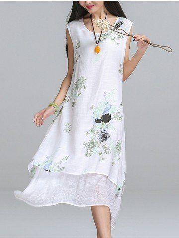 Vintage Women Sleeveless O Neck Floral Printed Fake Two Piece Cotton Linen Dress