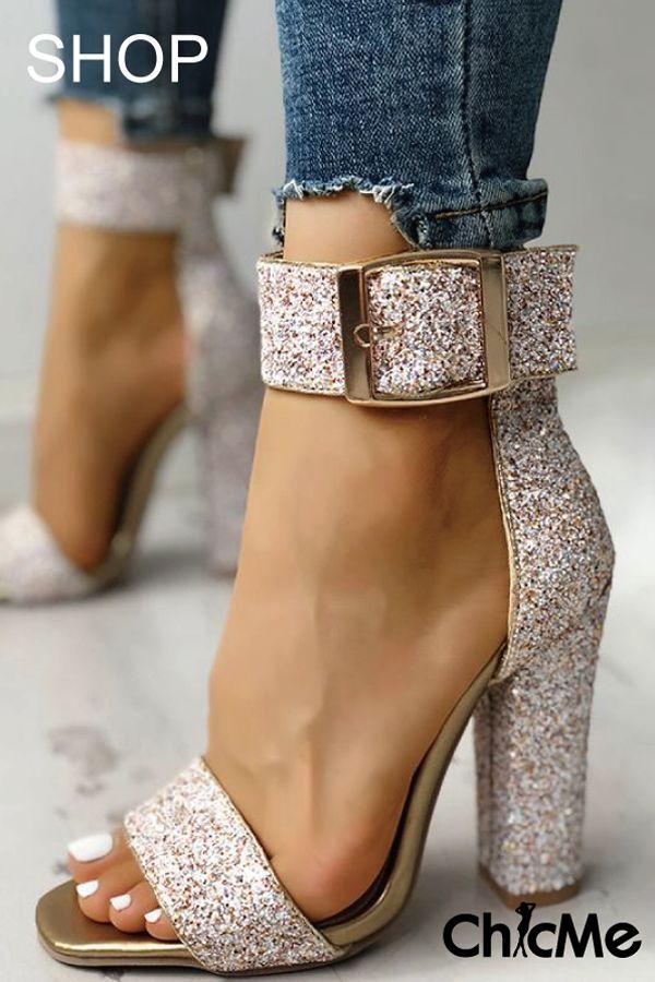 7783a57aea6e1 Stylish Sequin Open Toe Chunky Heeled Sandals