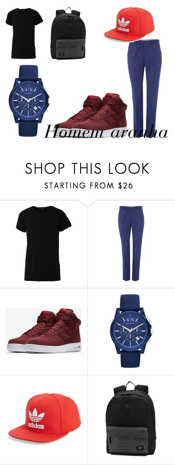 """""""Homem aranha 🖤🖤"""" by julia-clv ❤ liked on Polyvore featuring Numero00, Ted Baker, NIKE, Armani Exchange, adidas Originals, Vans, men's fashion and menswear"""