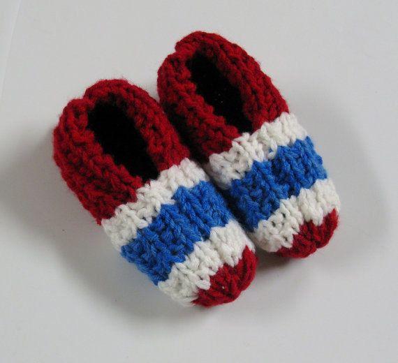 PATRON PDF 004 Pantoufles tricot Canadiens de par 3petitesmailles