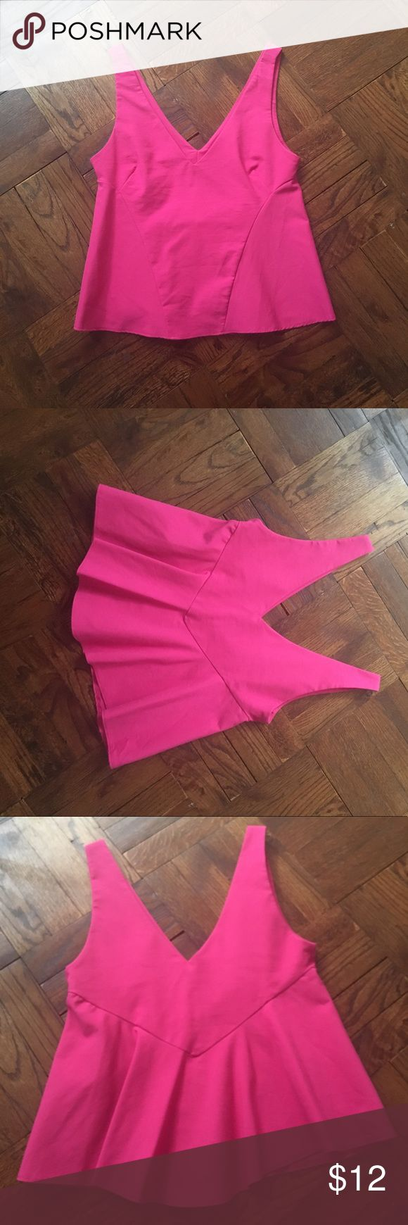 Zara pink peplum top Adorable Zara pink vneck peplum top Zara Tops Tank Tops